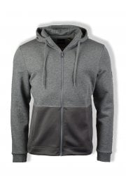 Casuals Fabric Mix Zip Through Hoody (Mid Grey Marl)