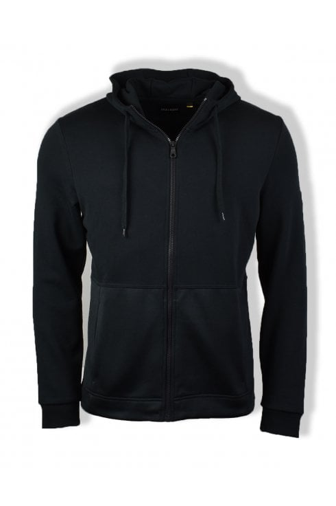 Lyle & Scott Casuals Fabric Mix Zip Through Hoody (True Black)