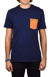 Contrast Pocket T-Shirt (Navy/Fox Orange)