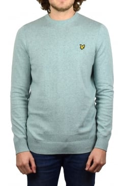 Crew-Neck Cotton Merino Jumper (Powder Blue Marl)