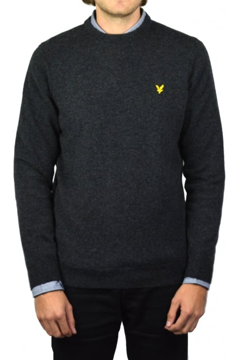 Lyle & Scott Crew-Neck Lambswool Jumper (Charcoal Marl)