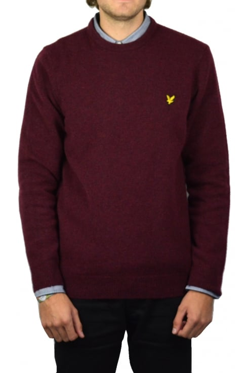 Lyle & Scott Crew-Neck Lambswool Jumper (Claret Marl)