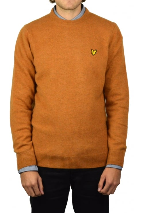 Lyle & Scott Crew-Neck Lambswool Jumper (Dark Gold Marl)