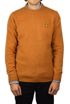 Crew-Neck Lambswool Jumper (Dark Gold Marl)