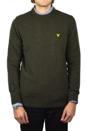 Crew-Neck Lambswool Jumper (Olive Marl)