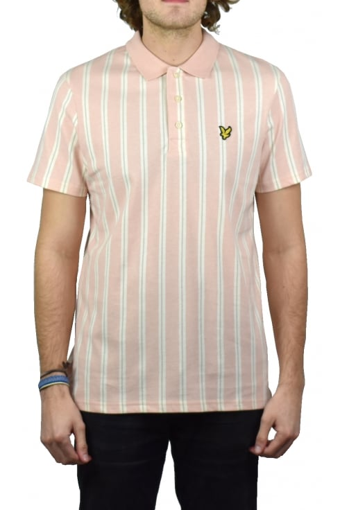Lyle & Scott Deckchair Stripe Polo Shirt (Dusty Pink)