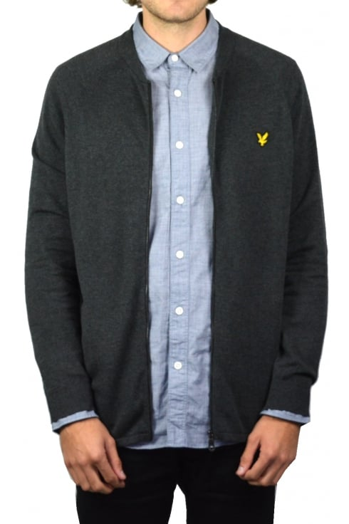 Lyle & Scott Knitted Bomber (Charcoal Marl)