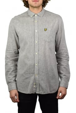 Long-Sleeved Cotton Linen Shirt (Grey)