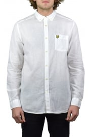 Long-Sleeved Cotton Linen Shirt (White)