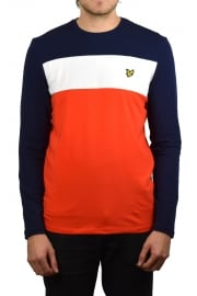 Long-Sleeved Slim Fit Block Stripe T-Shirt (Paprika)