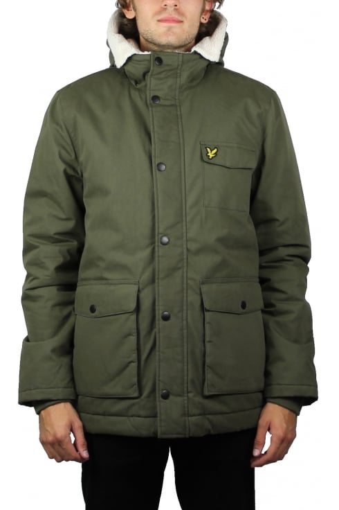 Lyle & Scott Shearling Coat (Olive)