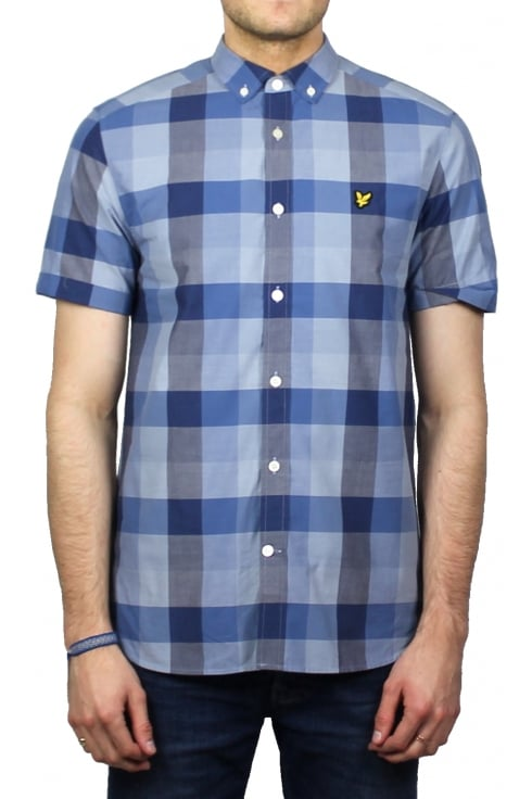 Lyle & Scott Short-Sleeved Check Shirt (Navy)
