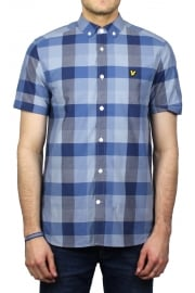 Short-Sleeved Check Shirt (Navy)