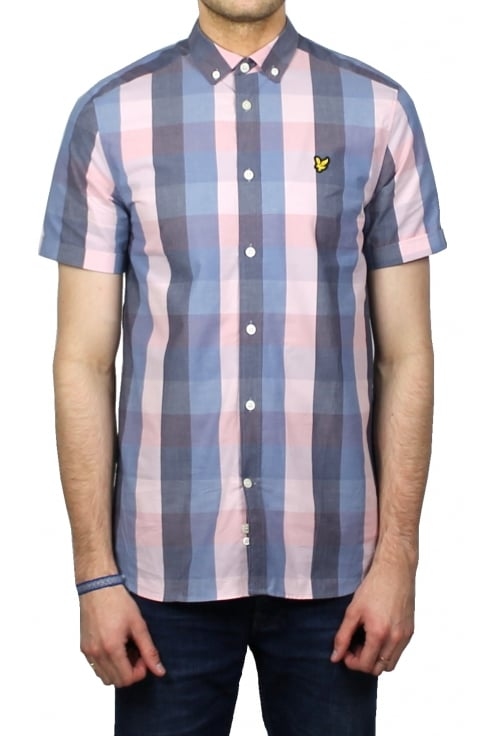 Lyle & Scott Short-Sleeved Check Shirt (Soft Pink)