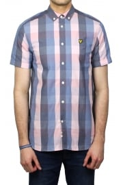 Short-Sleeved Check Shirt (Soft Pink)