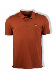 Short-Sleeved Plain Pique Polo Shirt (Brown Spice)