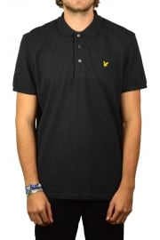 Short-Sleeved Plain Pique Polo Shirt (Charcoal Marl)