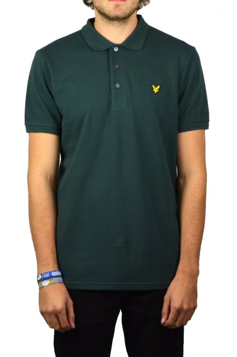 Lyle & Scott Short-Sleeved Plain Pique Polo Shirt (Forest Green)