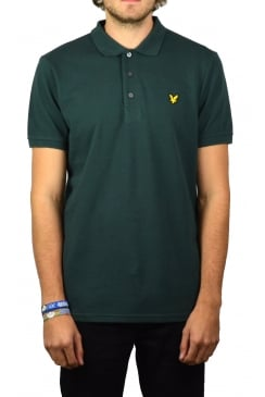 Short-Sleeved Plain Pique Polo Shirt (Forest Green)