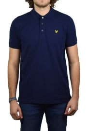 Short-Sleeved Plain Pique Polo Shirt (Navy)