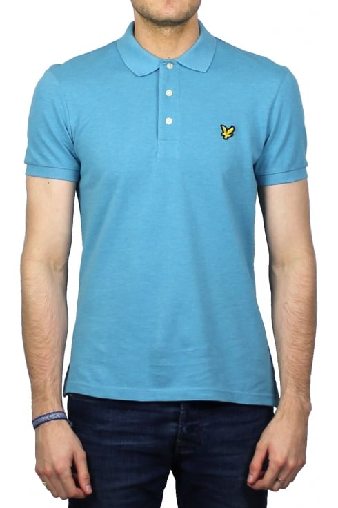 Lyle & Scott Short-Sleeved Plain Pique Polo Shirt (Pacific Blue Marl)