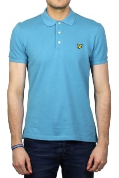 Short-Sleeved Plain Pique Polo Shirt (Pacific Blue Marl)