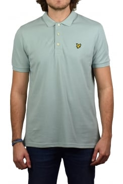 Short-Sleeved Plain Pique Polo Shirt (Powder Blue)