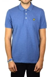 Short-Sleeved Plain Pique Polo Shirt (Storm Blue Marl)