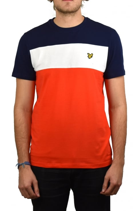 Lyle & Scott Slim Fit Block Stripe T-Shirt (Paprika)