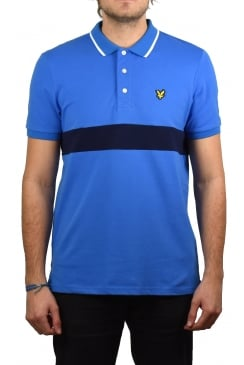 Slim Fit Striped Pique Polo Shirt (Topaz Blue)