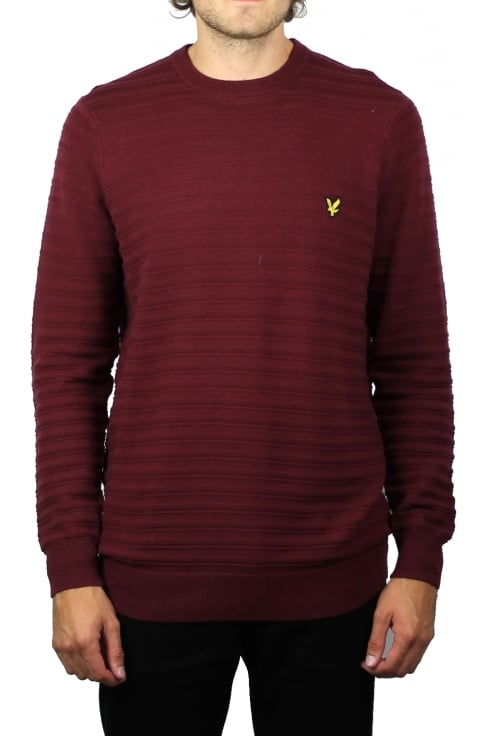 Lyle & Scott Textured Stripe Jumper (Claret Jug)