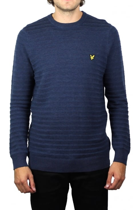 Lyle & Scott Textured Stripe Jumper (Ink Blue Marl)