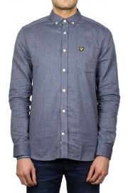Twill Mouline Long-Sleeved Shirt (Navy)