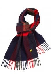 Woven Tartan Lambswool Scarf (Dark Navy/Honey)