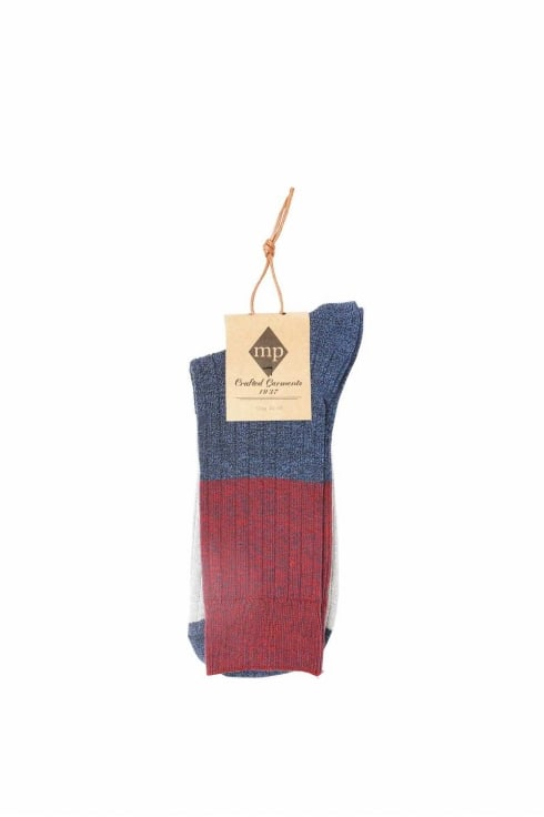 MP Crafted Garments Artur Colour Block Socks (Burgundy/Blue)