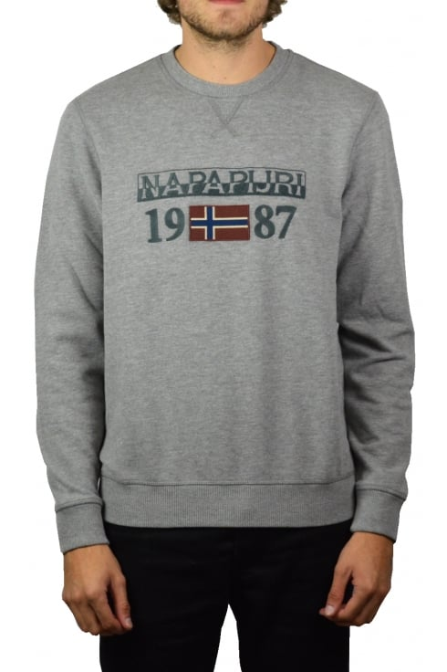 Napapijri Berthow Crew-Neck Sweatshirt (Medium Grey Marl)