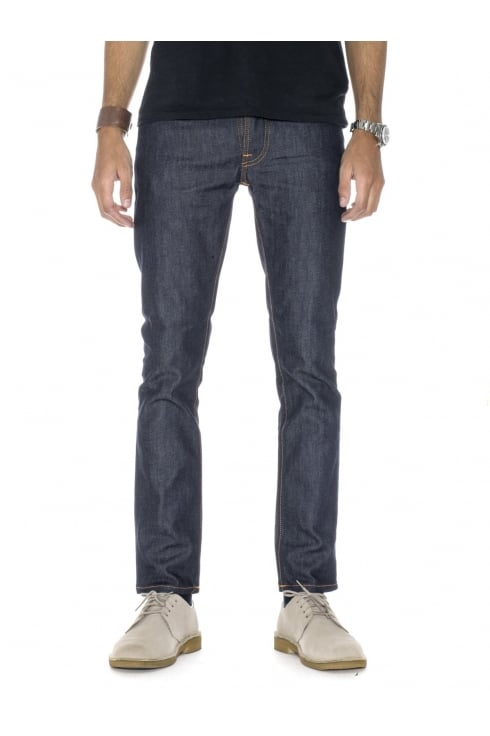 Nudie Jeans Co Grim Tim Straight & Slim Fit Jeans (Dry Open Navy)