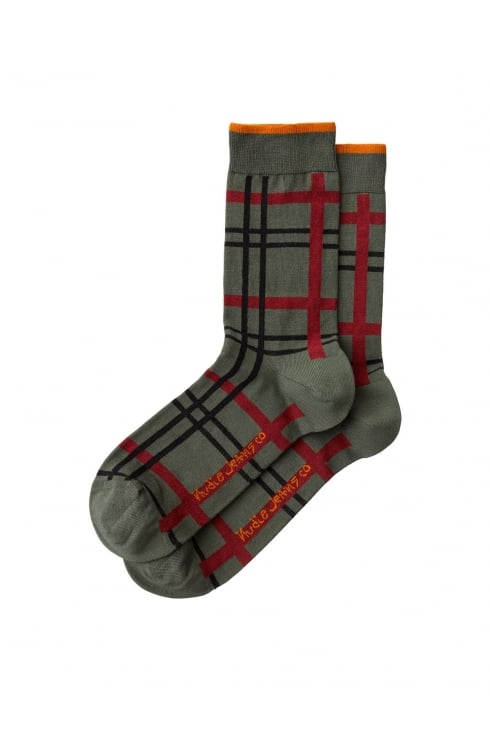 Nudie Jeans Co Olsson Check Socks (Grass)
