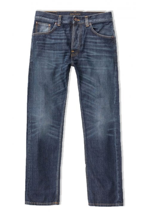 Nudie Jeans Co Sleepy Sixten Relaxed Straight Fit Jeans (Authentic Dark)