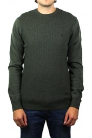 Basket Weave Merino Jumper (Forest Night Heather)