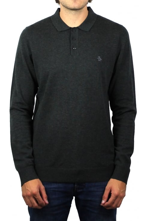 Original Penguin Knitted Long-Sleeved Polo Shirt (Charcoal Heather)
