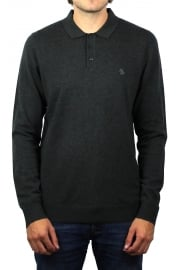 Knitted Long-Sleeved Polo Shirt (Charcoal Heather)