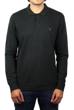 Knitted Long-Sleeved Polo Shirt (Vintage Indigo Heather)