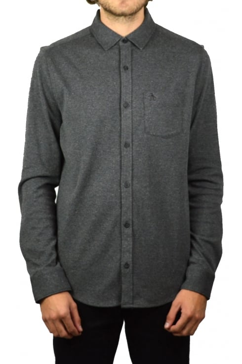 Original Penguin Knitted Nep Long-Sleeved Shirt (Charcoal Heather)