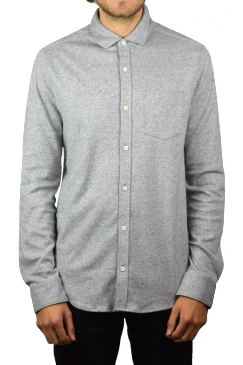 Original Penguin Knitted Nep Long-Sleeved Shirt (Steel Grey)