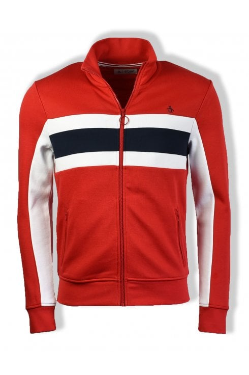 Original Penguin Long-Sleeved Colour Block Track Jacket (Samba Red)