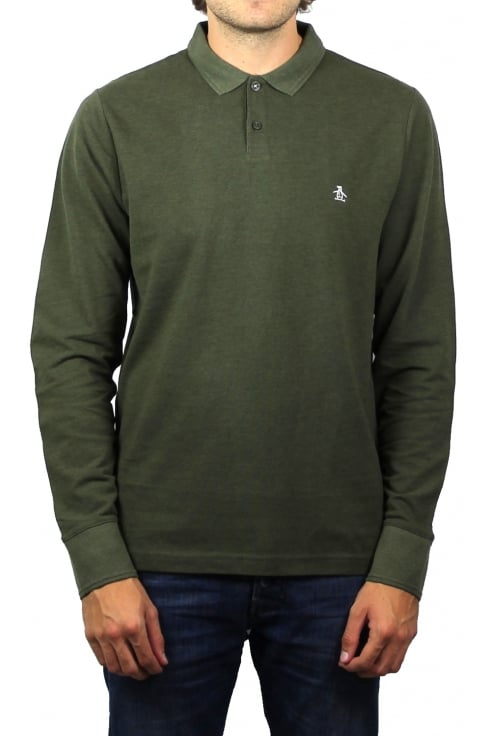 Original Penguin Long-Sleeved Raised Rib Polo Shirt (Forest Night Heather)