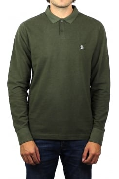 Long-Sleeved Raised Rib Polo Shirt (Forest Night Heather)