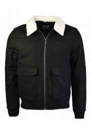 Sherpa Collar Wool Blend Jacket (True Black)