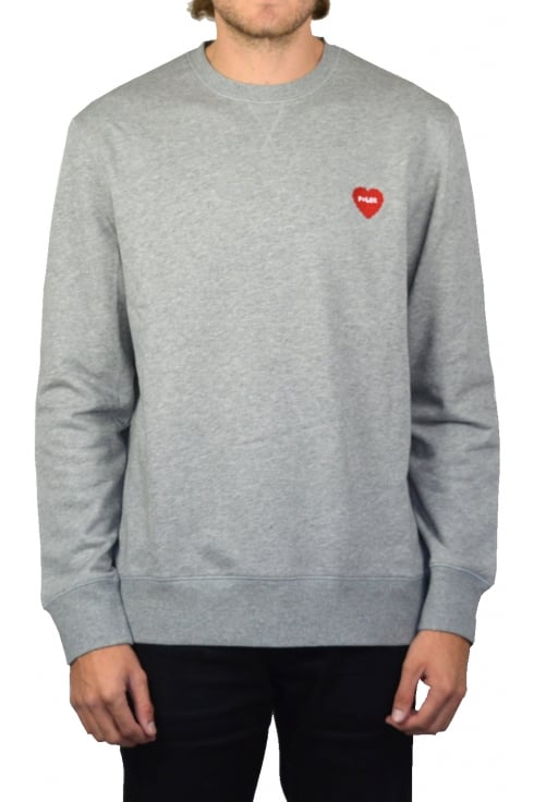 Poler Furry Heart Sweatshirt (Grey Heather)